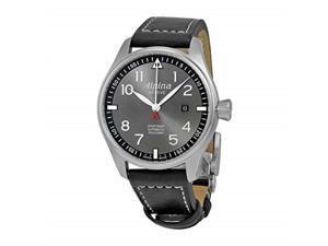 alpina sartimer pilot grey dial black leather strap men's watch al525gb4s6