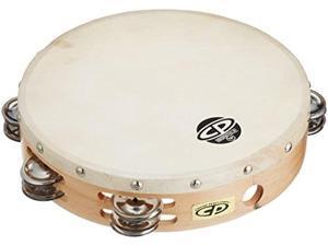 "cp380 10"" wood tambourine, headed, double row jingles"
