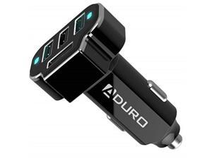 aduro 4 port car charger adapter, 12v fast car charger usb adapter power station 5.2a/26w output black