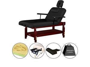 "master massage 31"" montclair stationaryspa salon massage table pro, black, lift back with memory foam"