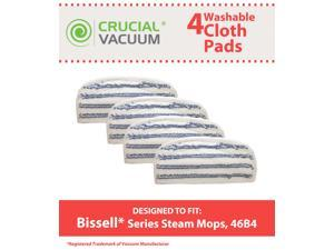 4Pack Washable & Reusable Pads Fits Bissell Steam & Sweep Hard Floor Cleaner Series 46B4; Replaces Bissell Part 75F5, 2032200, 203-2200; Designed & Engineered by Crucial Vacuum