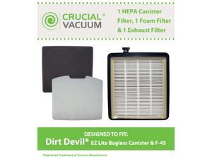 1 Dirt Devil F45 HEPA Canister Filter, Foam Filter & Exhaust Filter Fits Dirt Devil F45, Pets Canister Vacuum SD40000, & EZ Lite Canister SD40010; Compare to Part # 2KQ0107000, 2KQ0104000, 1KQ0106000