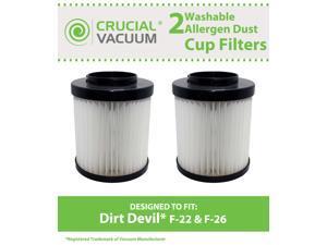 2 Dirt Devil F-22 F-26 Washable & Reusable Long-Life Vacuum Filters; Replaces Dirt F22 F26 Part # 1-LV1110-000 (1LV1110000); Fits Express Aspire 084590 Featherlite 085850