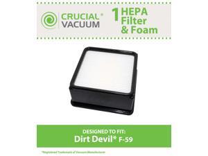 1 Dirt Devil F59 HEPA Filter Cartridge + Foam Designed To Fit Dirt Devil Total Vision Bagless Upright Vacuum Model UD70220; Compare To Dirt Devil F59 (F-59) Part # 304707001, 3-01707-001