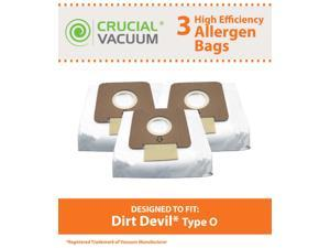 3 Dirt Devil Type O Replacement Allergen Bags Designed To Fit Dirt Devil Type O Tattoo Canister Vacuums; Compare To Part # AD10030, 304235001, 3-04235-00; Designed & Engineered By Crucial Vacuum