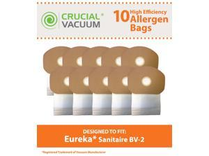 10 Eureka Sanitaire BV-2 Bags; Fits Back Pack SC412 BV-2; Compare to Part # 62370; Designed & Engineered by Crucial Vacuum