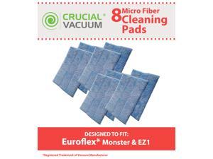 8 Euroflex Replacement Micro Fiber Cleaner Pads Designed To Fit Euroflex Monster EZ1 Steam Mop ; Designed & Engineered by Crucial Vacuum
