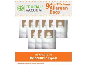 9 Kenmore Type B 85003 Allergen Bags; Fits 24196, 20-24196 and 115.2496210 Straight Extra-suction canister models & Oreck Quest MC1000 Canister Vacuums; Compare to Part # 24196, 20-24196, 634875
