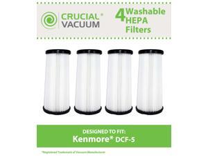 4 Kenmore DCF-5 Washable Allergen Filtration HEPA Filters; Fits All Kenmore Quick Clean Models including K37000, 3900; Replaces Kenmore DCF5 Part # 618683, 02080011000, 02039000000