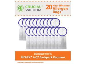 20 Oreck PKBP10 6 QT Vacuum Bags; Fits Oreck 6 QT Backpack Vacuums; Compare to Part # PKBP10; Designed & Engineered by Crucial Vacuum