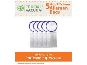 5 ProTeam Windsor Raven 6 QT Commercial Vacuum Bags Designed To Fit Proteam Windsor Raven 6 Quart Commercial Backpack Vacuums; Compare To Part # 100431