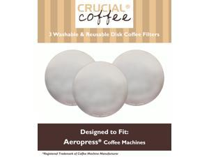 3 Crucial Coffee Washable & Reusable Coffee Filters Fit Aerobie AeroPress; Fits ALL Aerobie AeroPress Coffee & Espresso Machines; Manufactured by Crucial Coffee