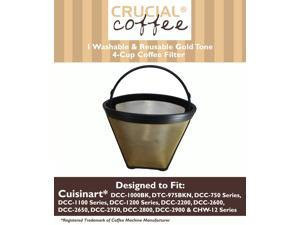 Cuisinart GTF-4 GTF4 Gold Tone Washable & Reusable Coffee Filter for Cuisinart 4-Cup Coffeemakers; Designed & Engineered by Crucial Coffee