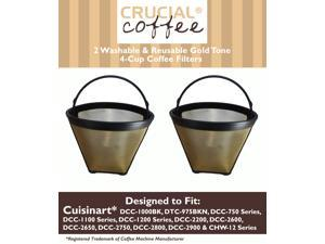2 Cuisinart GTF-4 GTF4 Gold Tone Washable & Reusable Coffee Filter for Cuisinart 4-Cup Coffeemakers; Designed & Engineered by Crucial Coffee