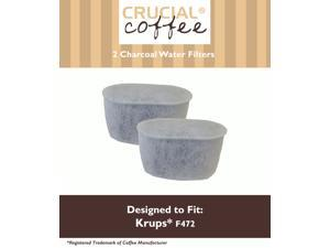 2 Krups Style F472 Charcoal Water Filters; Fits FMF, FME, 629, 619, 180, 176, 466 & 467; Designed & Engineered by Crucial Coffee