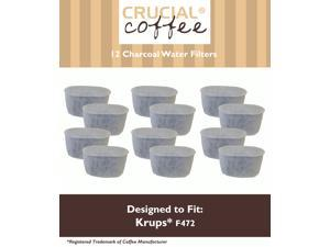12 Krups Style F472 Charcoal Water Filters; Fits FMF, FME, 629, 619, 180, 176, 466 & 467; Designed & Engineered by Crucial Coffee