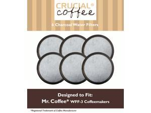 6 Mr. Coffee Charcoal Water Filters; Fits WFF-3 Coffeemakers; Compare to Part # 113035-001-000; Designed & Engineered by Crucial Coffee