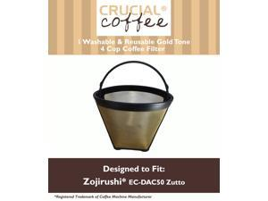 1 GTF4 Gold Tone Washable & Reusable Coffee Filter for Zojirushi EC-DAC50 Zutto; Designed & Engineered by Crucial Coffee