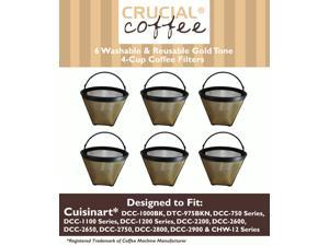 6 Cuisinart GTF-4 GTF4 Gold Tone Washable & Reusable Coffee Filter for Cuisinart 4-Cup Coffeemakers; Designed & Engineered by Crucial Coffee