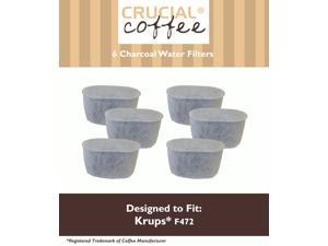 6 Krups Style F472 Charcoal Water Filters; Fits FMF, FME, 629, 619, 180, 176, 466 & 467; Designed & Engineered by Crucial Coffee