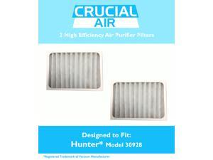 2 Think Crucial® Air Purifier Filter Compatible with Hunter® Brand Filter Part # 30928, Models 30057, 30059, 30067, 30078, 30079, 30097, 30124, 30126