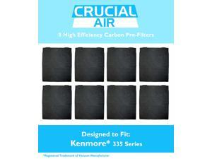 8-Pack High Efficiency Kenmore 335 Series Carbon Pre-Filter; Compare to Filter Part #83378; Designed and Engineered by Crucial Air