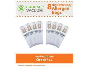 Oreck Type CC Vacuum Cleaner Bags 8-Pack - Allergen Filtration with Closure - To Fit Style CC, and ALL XL Upright Models - Compare to Oreck Part # CCPK8, CCPK8DW