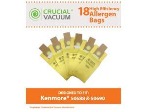Kenmore 50688, 50690 18-Pack Allergen Filtration Vacuum Cleaner Bags - Fits Kenmore 20-5068, 20-50681, 20-50688, 20-50690, Panasonic U-2, Sanyo PU-1, Kenmore Type O, Kenmore Type U Vacuum Cleaner Bags