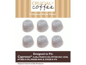 6 Capresso 4440.90 Charcoal Coffee Filters, Fits TEAM # 454