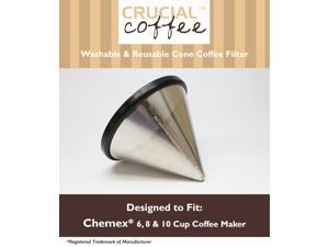 Washable & Reusable Stainless Steel Cone Coffee Filter Fits Chemex® 6, 8 & 10 Cup Coffee Makers