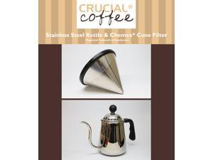 Washable & Reusable Stainless Steel Cone Coffee Filter Fits Chemex® 6, 8 & 10 Cup Coffee Makers & Pour Over Kettle