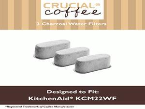 3 KitchenAid Charcoal Coffee Filters Fit KCM222 & KCM223 Water Filter Pod & Coffee Makers, Compare to Part # KCM22WF, Designed & Engineered by Crucial Coffee