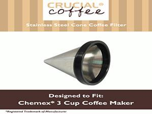 Washable & Reusable Stainless Steel Cone Coffee Filter Fits Chemex® 3-Cup Coffee Makers including Chemex CM-1C Classic and With Handle , Replaces Chemex FP-2 filters