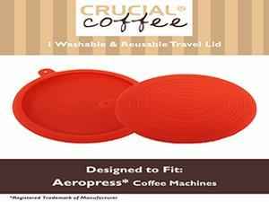 Travel Cap Lid / Brewing Grip Fits Aerobie Aeropress Coffee & Espresso Maker, Red Silicone Designed & Engineered by Crucial Coffee - Travel smart and conveniently transport coffee beans, filters