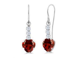 Gem Stone King 1.25 Ct Heart Shape Red Garnet Sky Blue Aquamarine 925 Sterling Silver Earrings