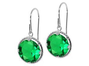 1.90 Ct Round Green Prasiolite Gemstone Birthstone 14K White Gold Earrings