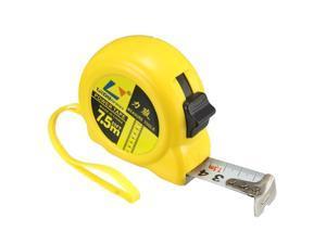 Tape Measure 7.5 Meter Retractable Measuring Tape Metric Plastic Round Case Yellow 2pcs