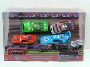 Disney / Pixar CARS Movie 1:55 Die Cast Race and Chase 4 Piece Gift Pack (Lightning McQueen, Chick Hicks, King and Re-Vo