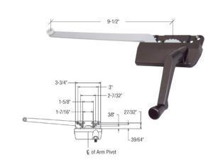 "CRL Bronze 9-1//2/"" Rt H3569 Hand Casement Window Operator"