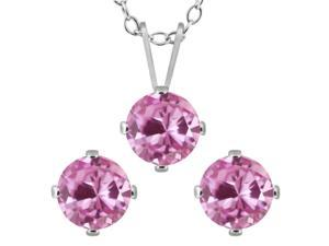3.00 CTW Created Pink Sapphire 925 Silver Pendant Necklace and Earrings Set
