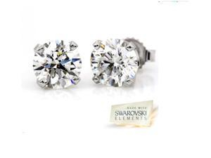 2.00 cttw. Swarovski Elements in Sterling Silver Stud Earrings
