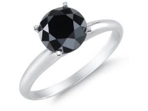 1.00ctw Black Diamond Solitaire Set In 14kt Gold