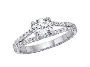 1.00CTW Split Shank Diamond Ring Set In 14kt Gold