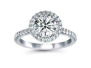 1.00 CTW Halo Diamond Ring Set in 14K White Gold