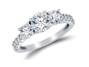 0.75 CTW 3-Stone Diamond Ring Set In 14K White Gold