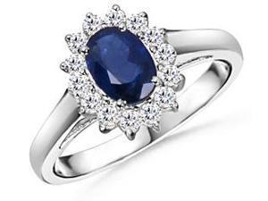 1.50CTW Genuine Diamond & Genuine Sapphire Princess Diana Ring Set In Solid 14KT Gold