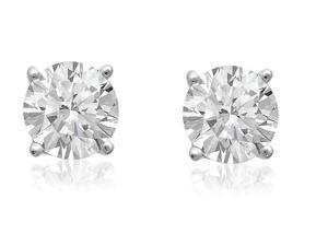 Sight Holder Diamonds 2.00ctw Genuine White Topaz Earrings Set In Solid Sterling Silver