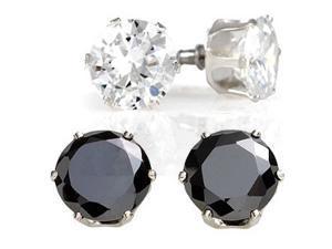 Sight Holder Diamonds 2 Pairs: Simulated Diamond Stud Earrings - 1 Black & 1 White