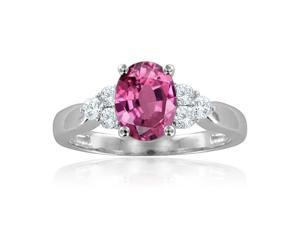 Created Pink Sapphire & Diamond Ring Set In Sterling Silver