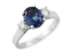 2.50Ctw Genuine Diamond & Genuine Blue Sapphire Ring Set In Sterling Silver Size 6